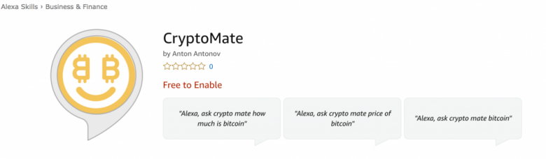 CryptoMate – an Amazon Alexa Skill for live price cryptocurrency info